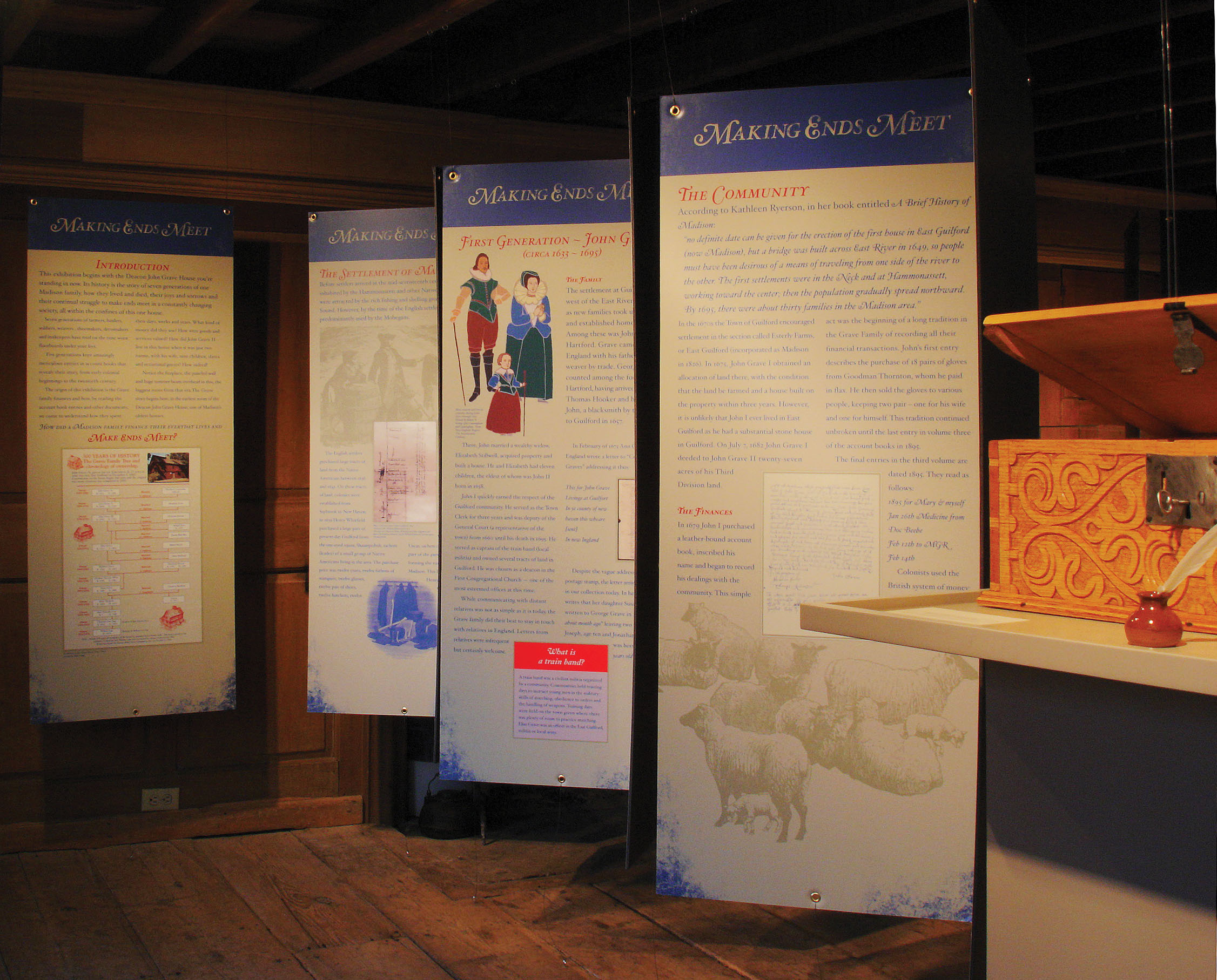 "Panels and Reproduction box from ""Making Ends Meet: Financing Every-Day Life for a Madison Family, 1685-1865,"" an exhibition at the Deacon John Grave House, Madison, Connecticut"